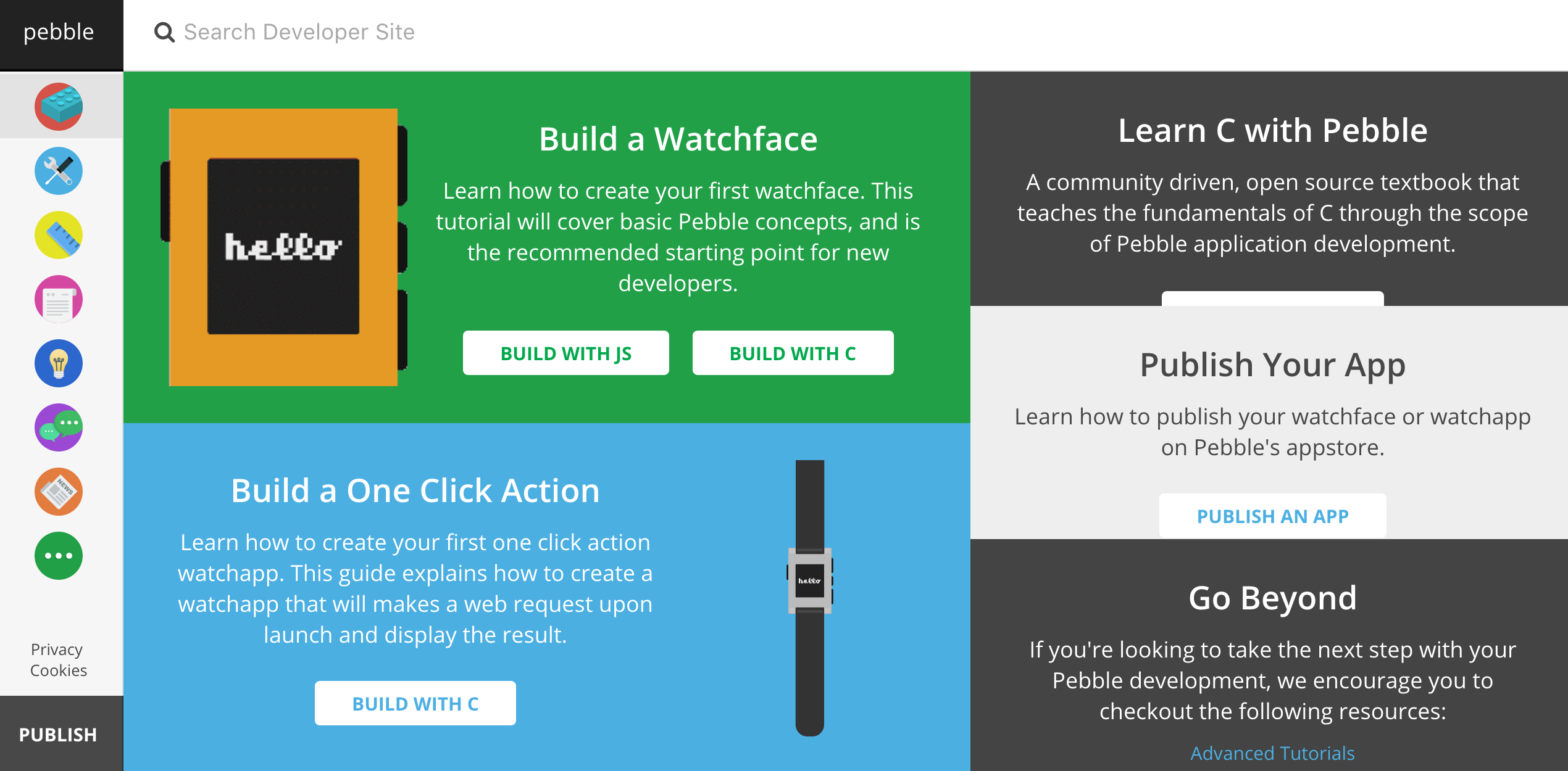 Pebble developer site